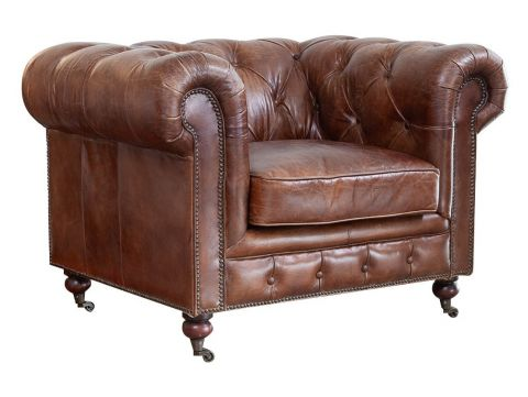 Chesterfield leather brown cigar armchair. Vintage