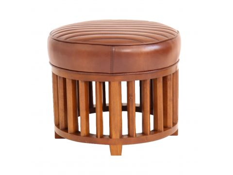 round footstools marron leather- Ibiza