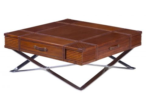 Coffee table wood leather and inox - NEW YORK