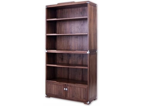 Bookcase  two doors five shelves, walnut - MARCO POLO