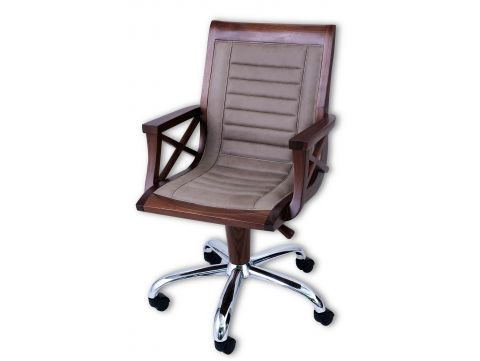 Desk chair swivel and height adjustable, walnut and ash leather - HALIFAX