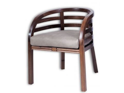 Armchair  walnut and ashl eather - MOOREA