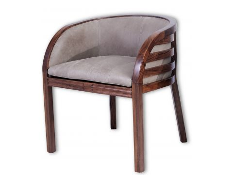 Armchair in walnut and ash Leather  - TAHA