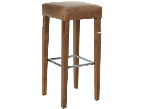 Barstool in walnut and brown leather - ZAMBRA