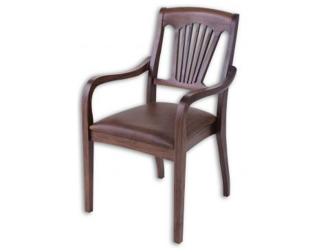 Dining armchair walnut and brown leather - TRINIDAD