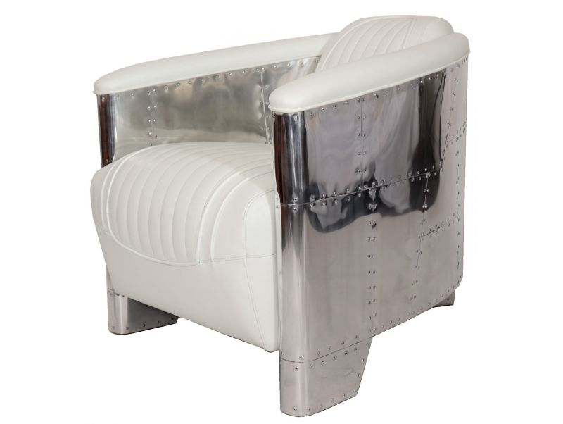 Club armchair  DC3  white leather