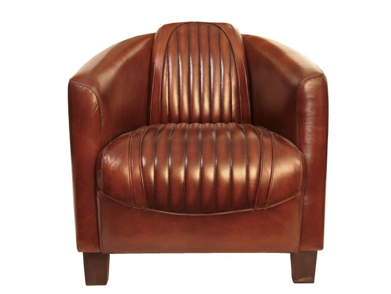 Club armchair - brown leather- Barquette sport.