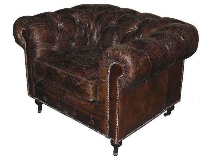 Fauteuil Chesterfield vintage, cuir marron cigare