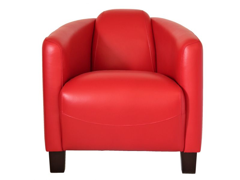 Fauteuil club Barquette Sport - Cuir rouge