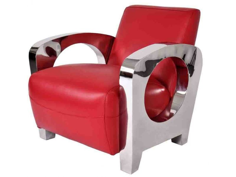 Fauteuil club Sydney - Cuir rouge