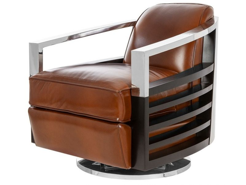 Fauteuil club pivotant. Cuir marron - Madison
