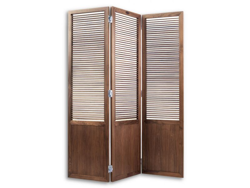 Panel screen with working louvers, in walnut - GOA
