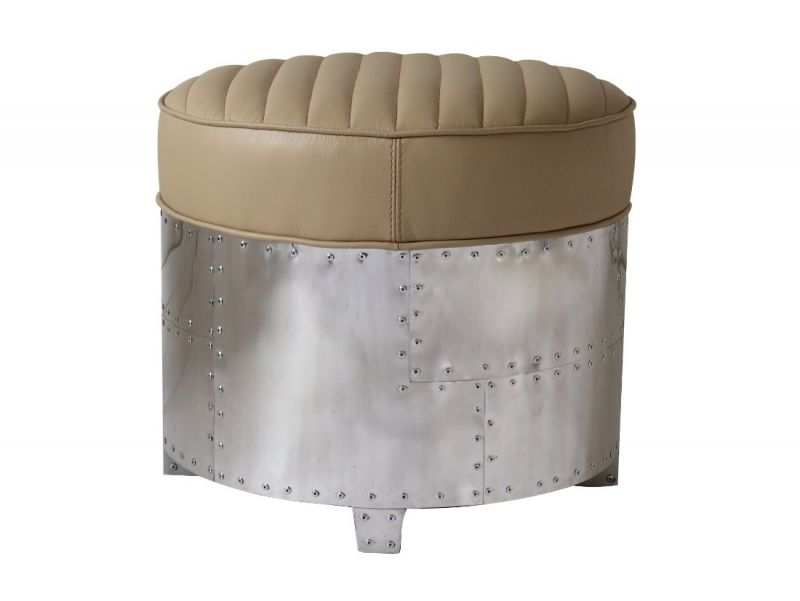 Aviator DC3 round footstools - Beige leather