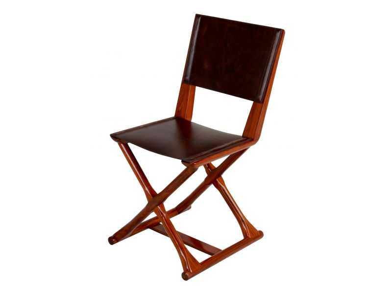 Chair Rosewood finish and leather - HAMILTON