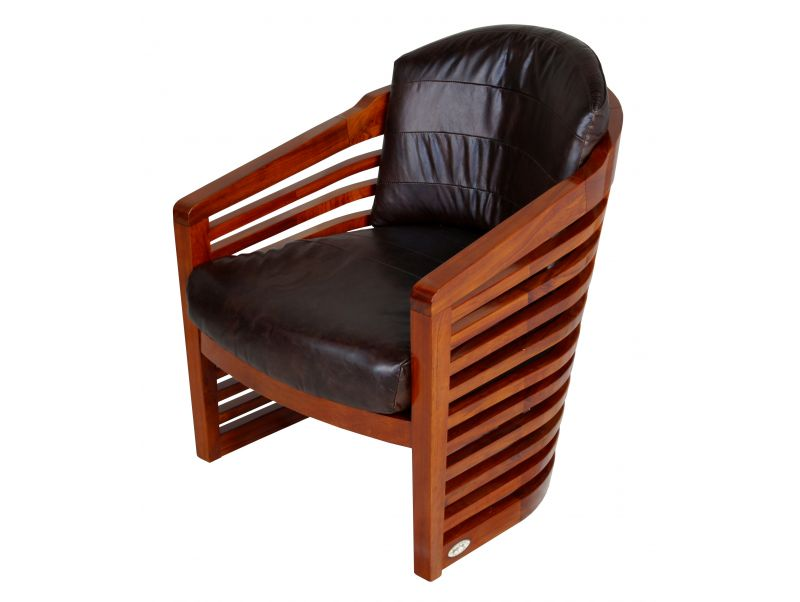 Fauteuil finition Rosewood et cuir marron - NEW YORK