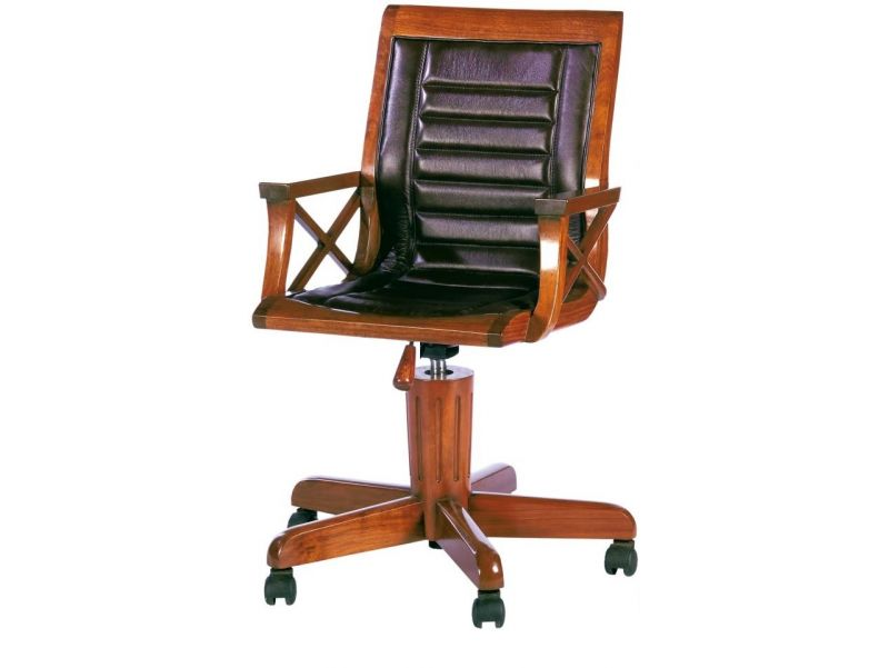 Desk chair swivel and height adjustable wood and leather - HALIFAX