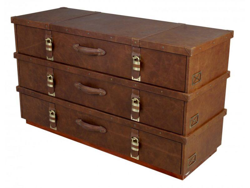 pantalonni re en cuir trois tiroirs madras. Black Bedroom Furniture Sets. Home Design Ideas