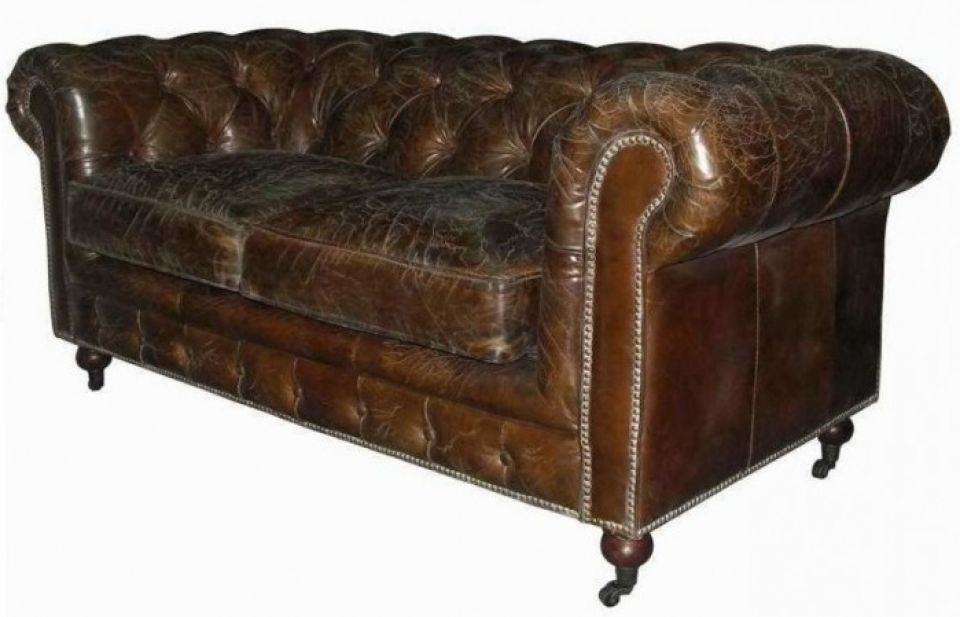 Astonishing Brown Chesterfield Sofa Cigar 2 Seater Pabps2019 Chair Design Images Pabps2019Com