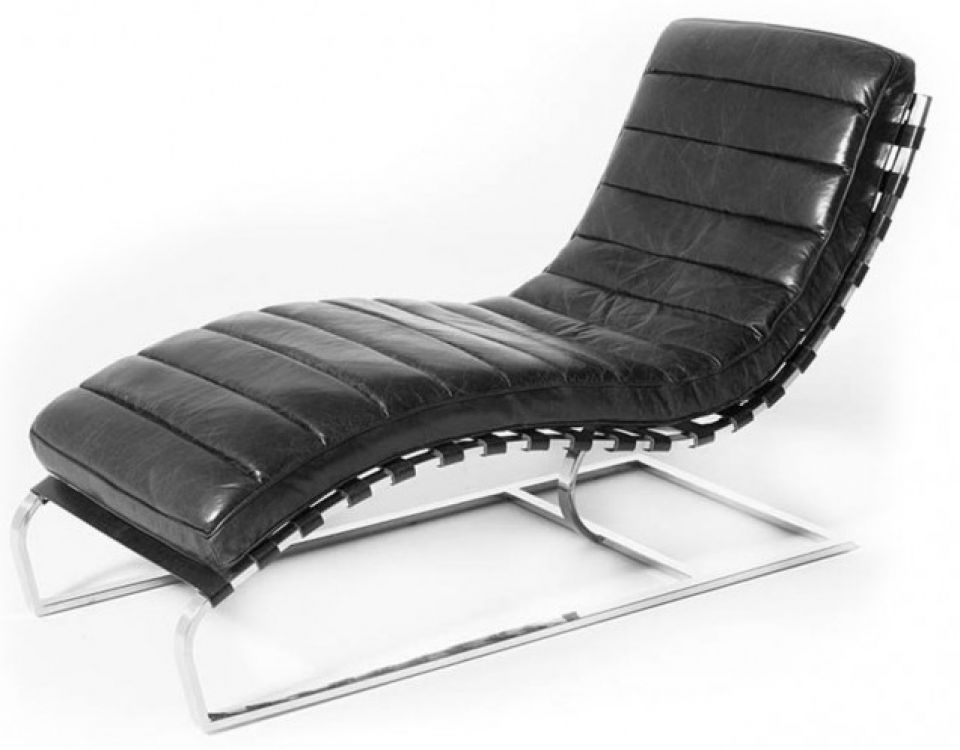 Admirable Lounge Chair Relax Armchair Black Leather And Chromed Metal Caraccident5 Cool Chair Designs And Ideas Caraccident5Info