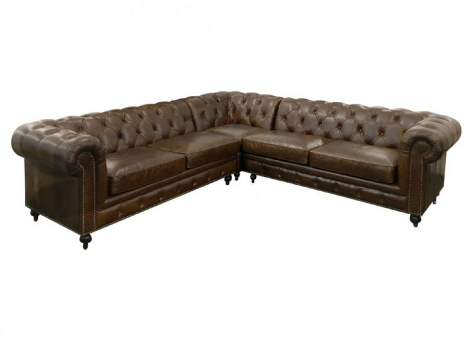 Chesterfield Leather Corner Sofa - Brown Cigar