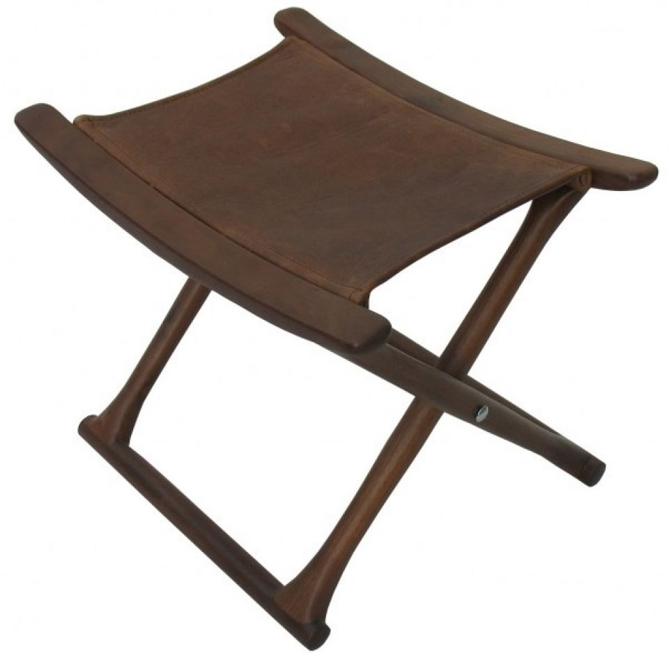 Miraculous Folding Stool Black Walnut And Leather Mahe Pabps2019 Chair Design Images Pabps2019Com