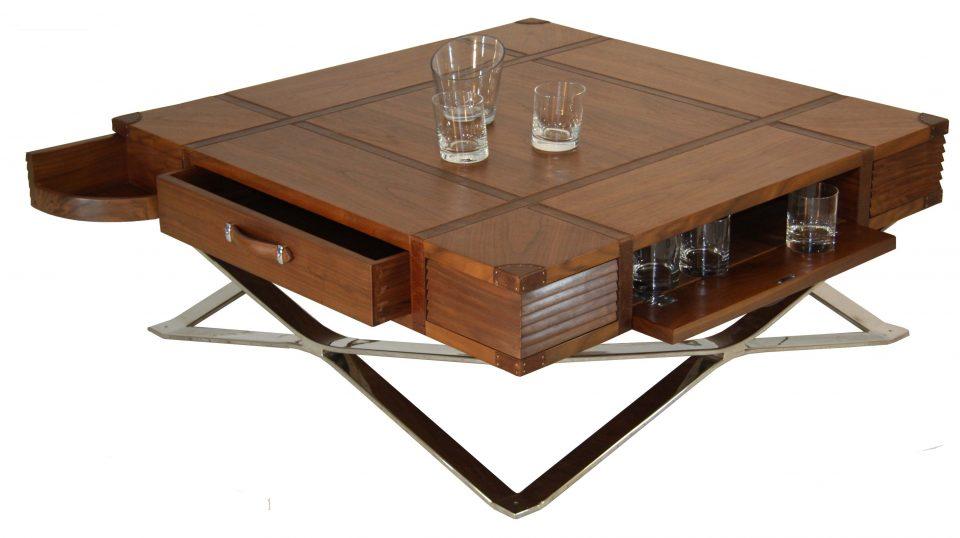table basse carr e avec rangements noyer inox et cuir new york. Black Bedroom Furniture Sets. Home Design Ideas