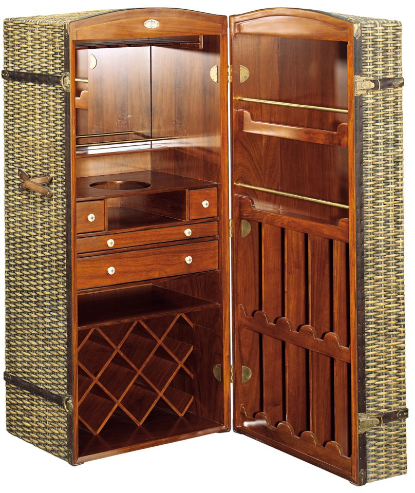 malle bar rotin et bois nairobi. Black Bedroom Furniture Sets. Home Design Ideas