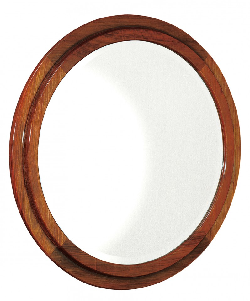Miroir rond hublot entourage bois brest for Miroir rond cadre bois