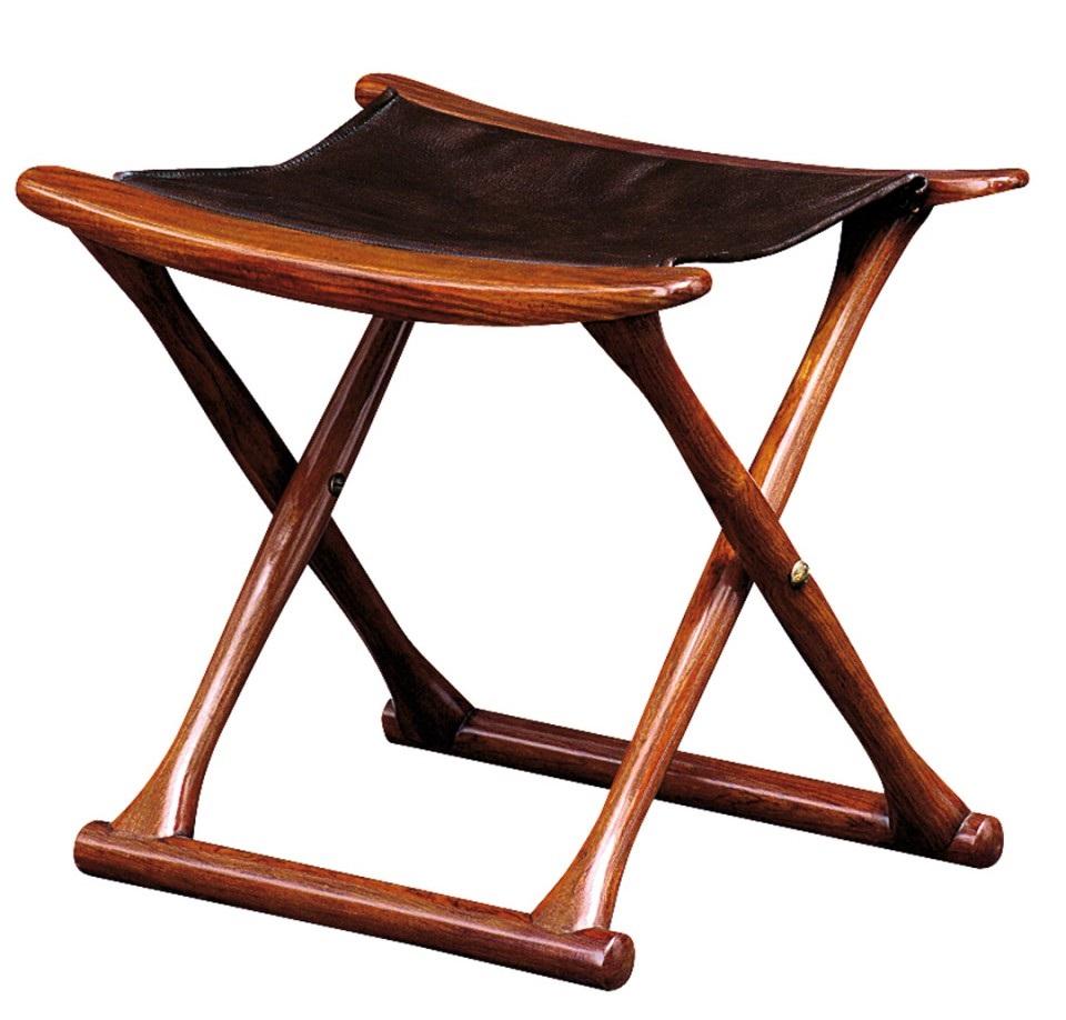 tabouret pliant bois et cuir mahe. Black Bedroom Furniture Sets. Home Design Ideas