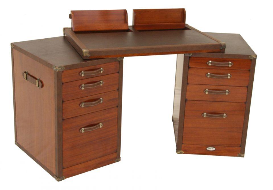 Bureau avec tiroirs et rangements finition bois de rose montenegro
