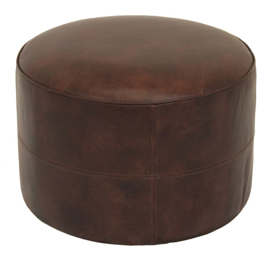 pouf en cuir marron marie galante. Black Bedroom Furniture Sets. Home Design Ideas