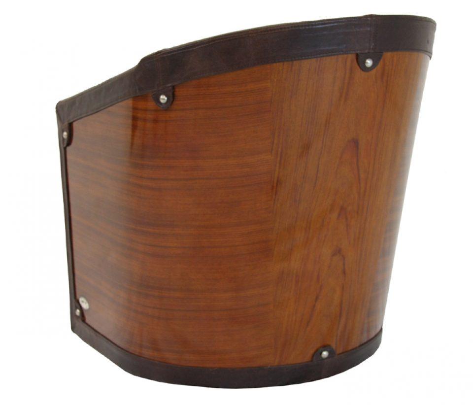 fauteuil pivotant bois et cuir marron new york. Black Bedroom Furniture Sets. Home Design Ideas