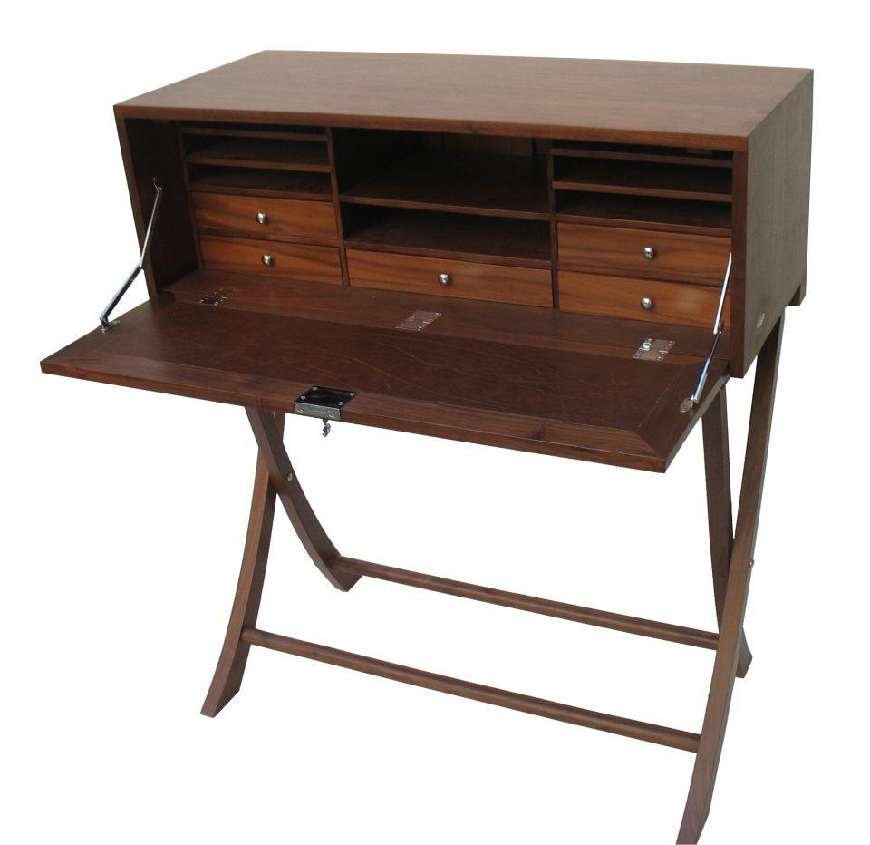 bureau secr taire indochine noyer d 39 am rique sept tiroirs indochine. Black Bedroom Furniture Sets. Home Design Ideas