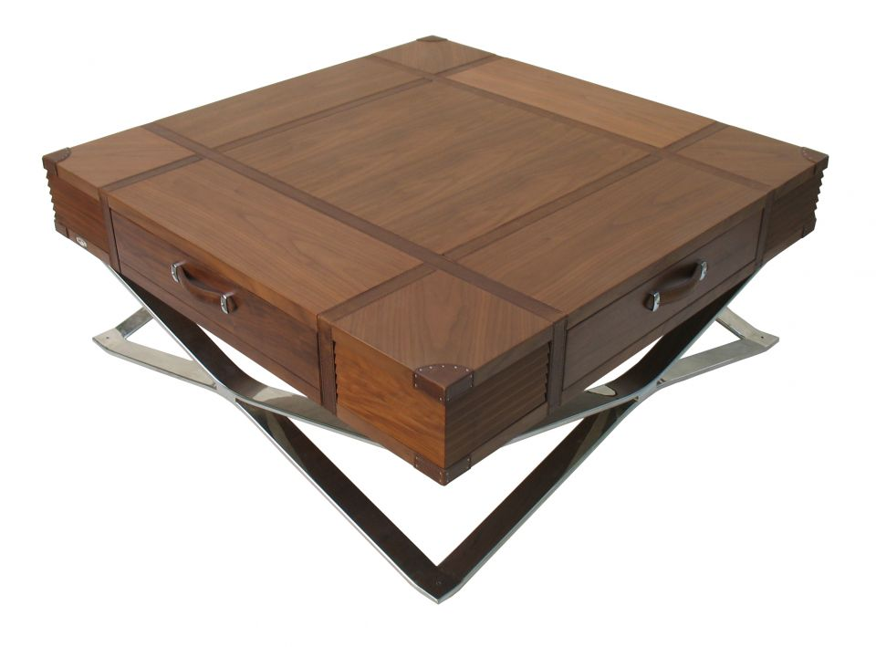 Coffee table storages walnut leather and inox new york for Table armoire inox