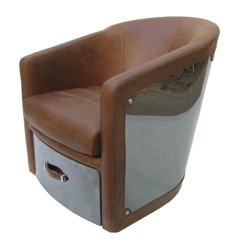 fauteuil inox et cuir marron un tiroir new york. Black Bedroom Furniture Sets. Home Design Ideas