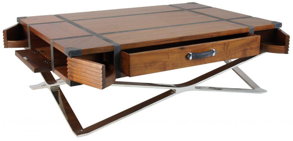 table basse rectangulaire en noyer huit rangements ferm s new york. Black Bedroom Furniture Sets. Home Design Ideas