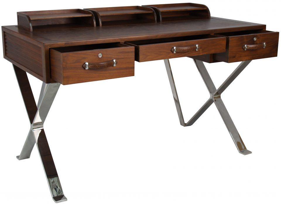 Desk in black walnut leather and inox new york