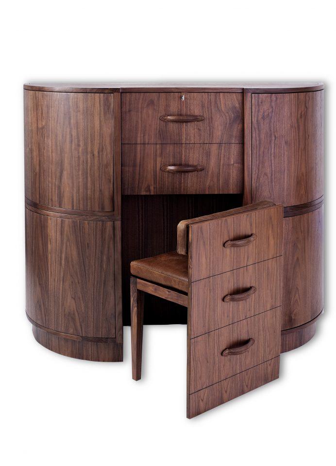 secr taire avec si ge int gr et nombreux rangements noyer noir monsieur. Black Bedroom Furniture Sets. Home Design Ideas