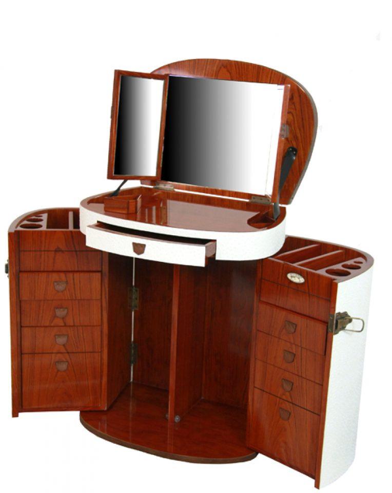 coiffeuse blanche avec miroir et tiroirs marie galante. Black Bedroom Furniture Sets. Home Design Ideas